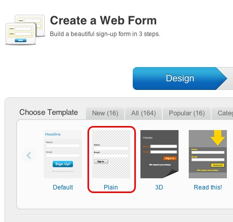 Create a simple web form in GetResponse