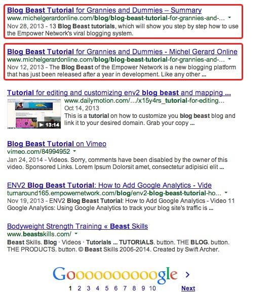 ENV2 Google Ranking Case Study