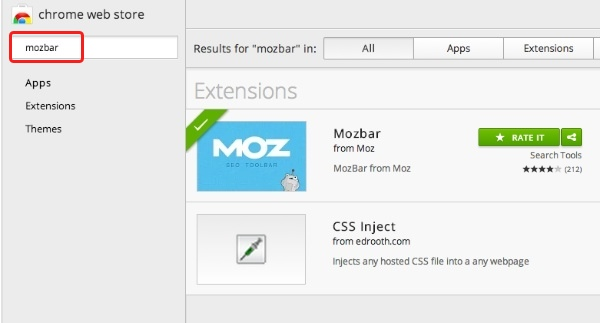 google chrome apps Mozbar