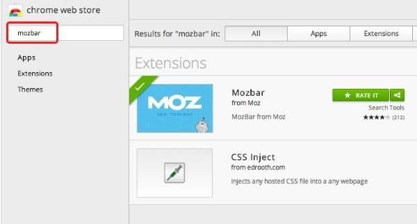 google chrome apps Mozbar