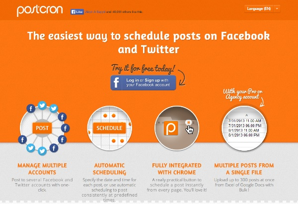 Schedule Facebook and Twitter Posts ~ PostCron