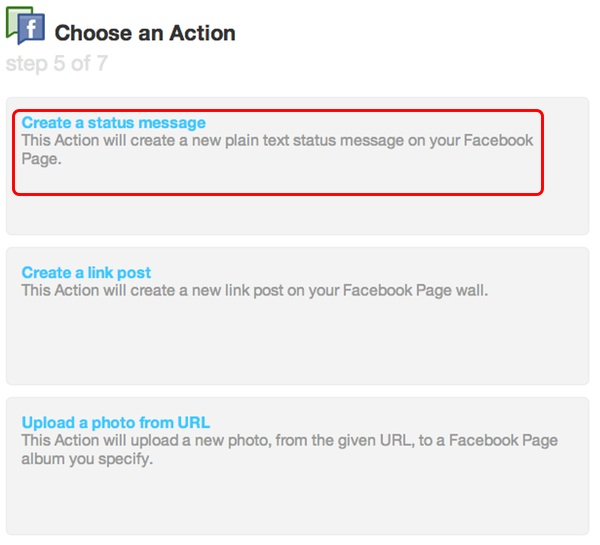 IFTTT - choose an action