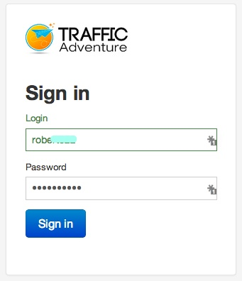 TrafficAdventure login