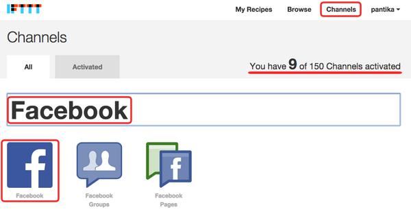 ifttt - activate facebook