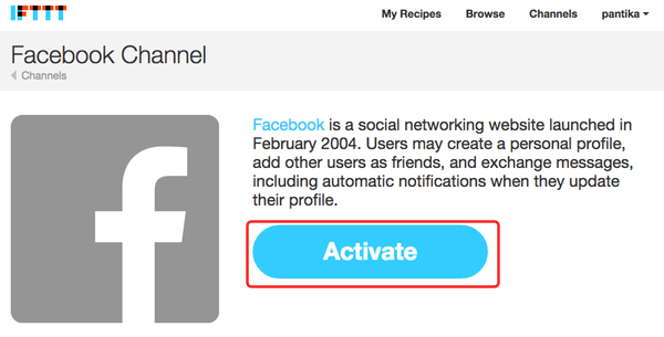 ifttt fb activate