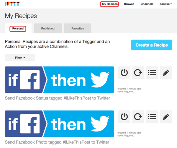 ifttt - my recipes