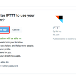 ifttt - twitter authorize