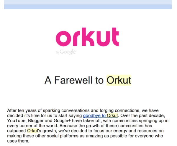 orkut farewell